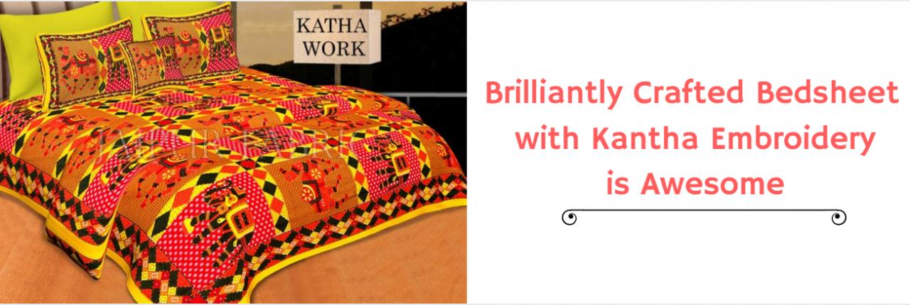 kantha work bedsheets