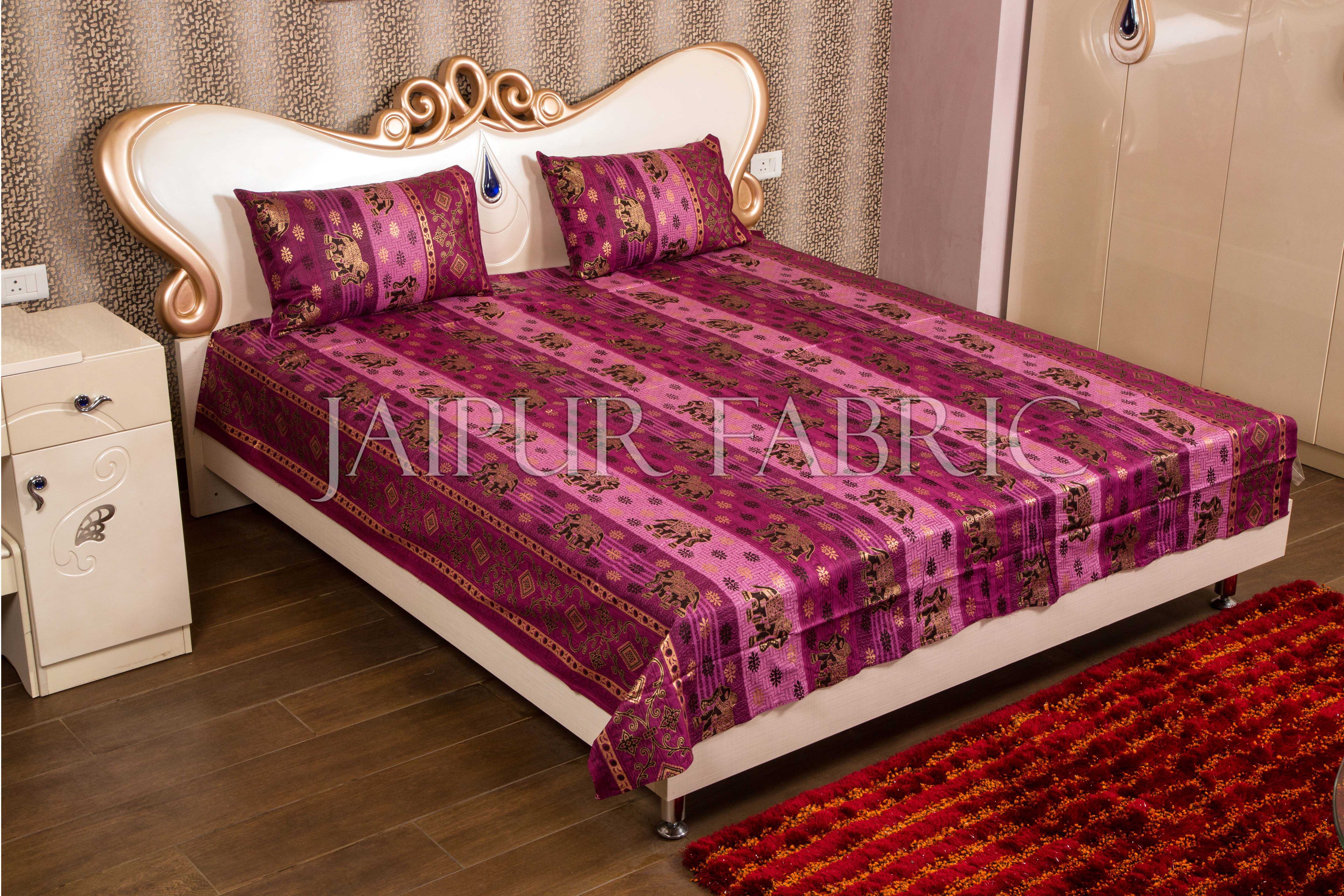 Delicieux Jaipur Fabric Rajasthani Gold Print Double Bed Sheet Set