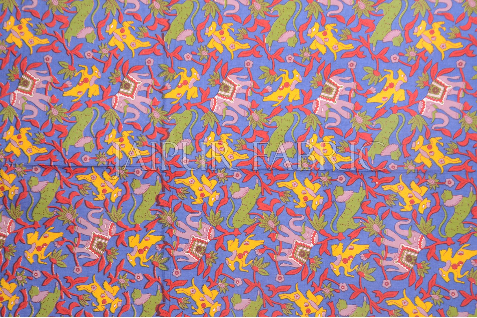 Blue Elephant and Tropical Printed Rajasthani Cotton Single Bed Sheet