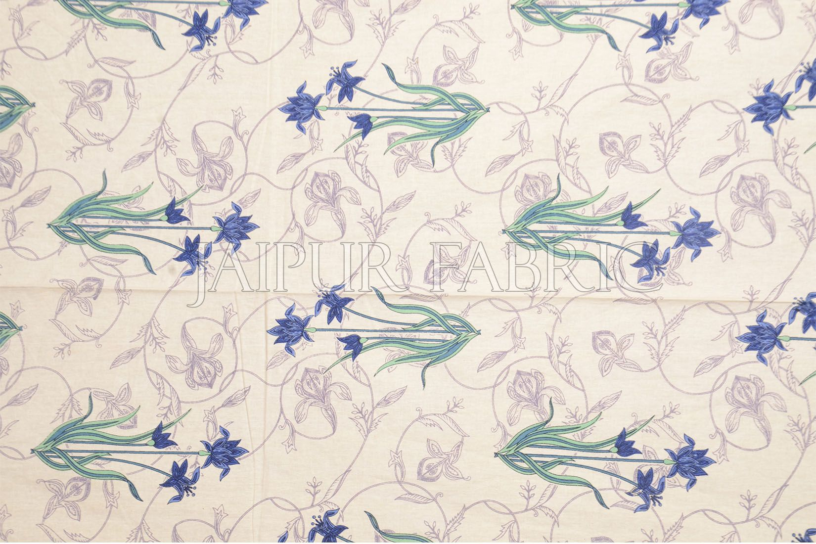Blue Border Lotus Floral Printed Cotton Single Bed Sheet