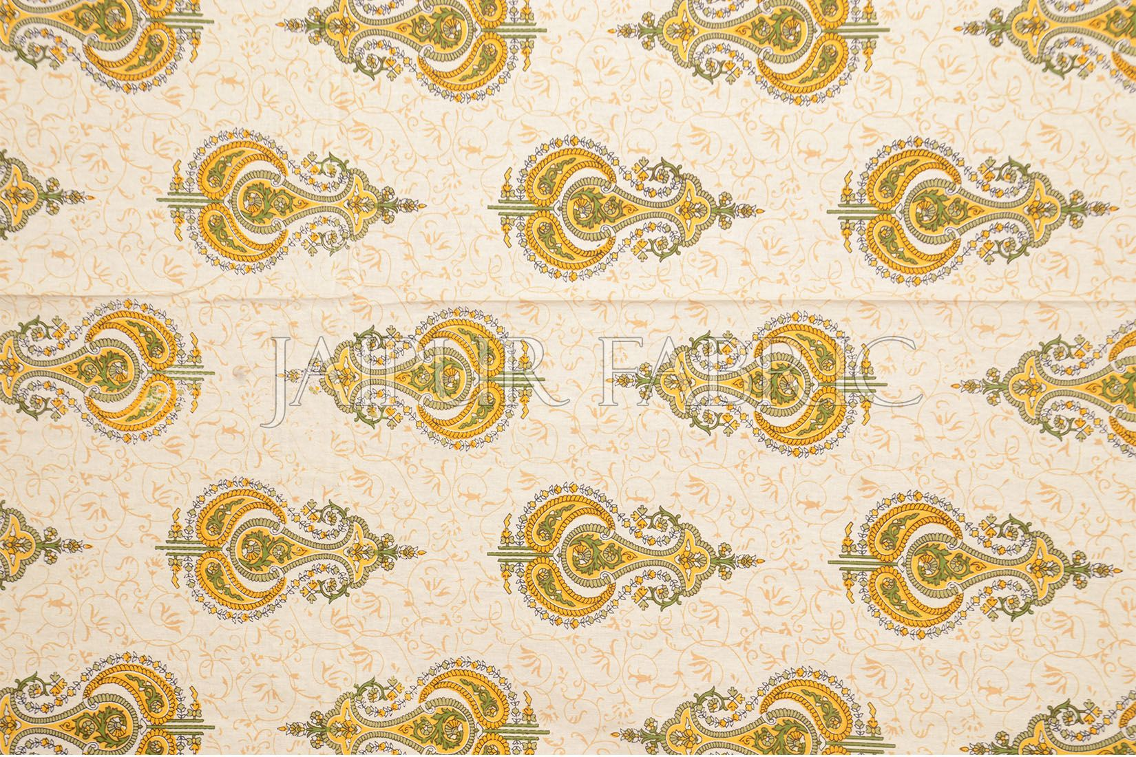 Beige Jaipuri Keri Printed Cotton Single Bed Sheet