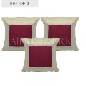 Maroon Base with White Gota Work Border Cotton Satin Silk Cushion Cover