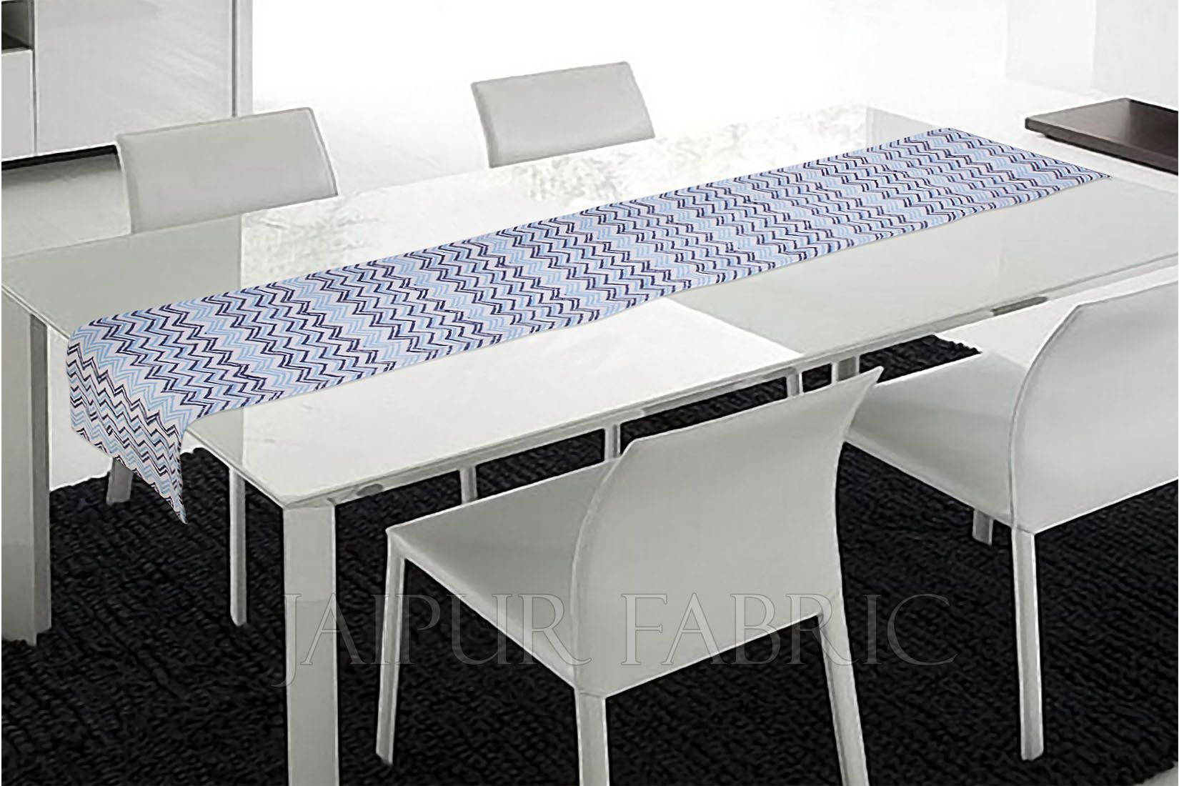 Blue Zigzag Table Runner