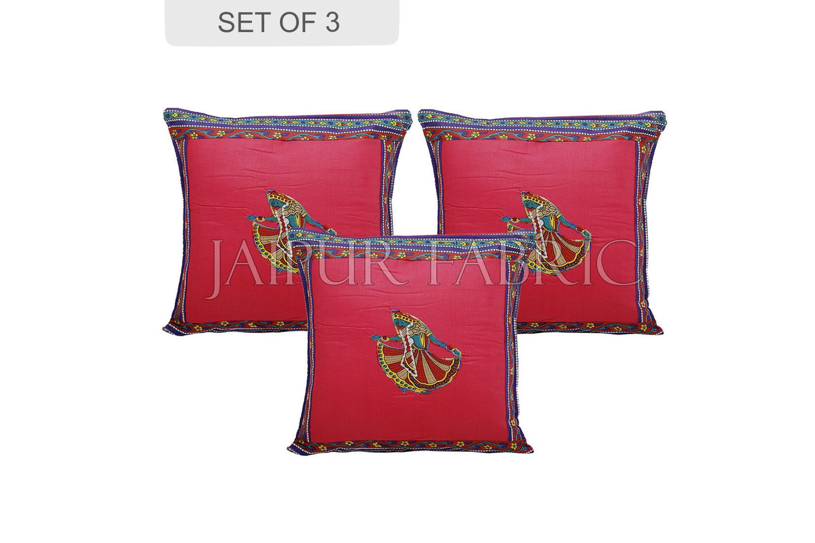 Pink Color Ghoomar Patch Work Cotton Cushion Cover