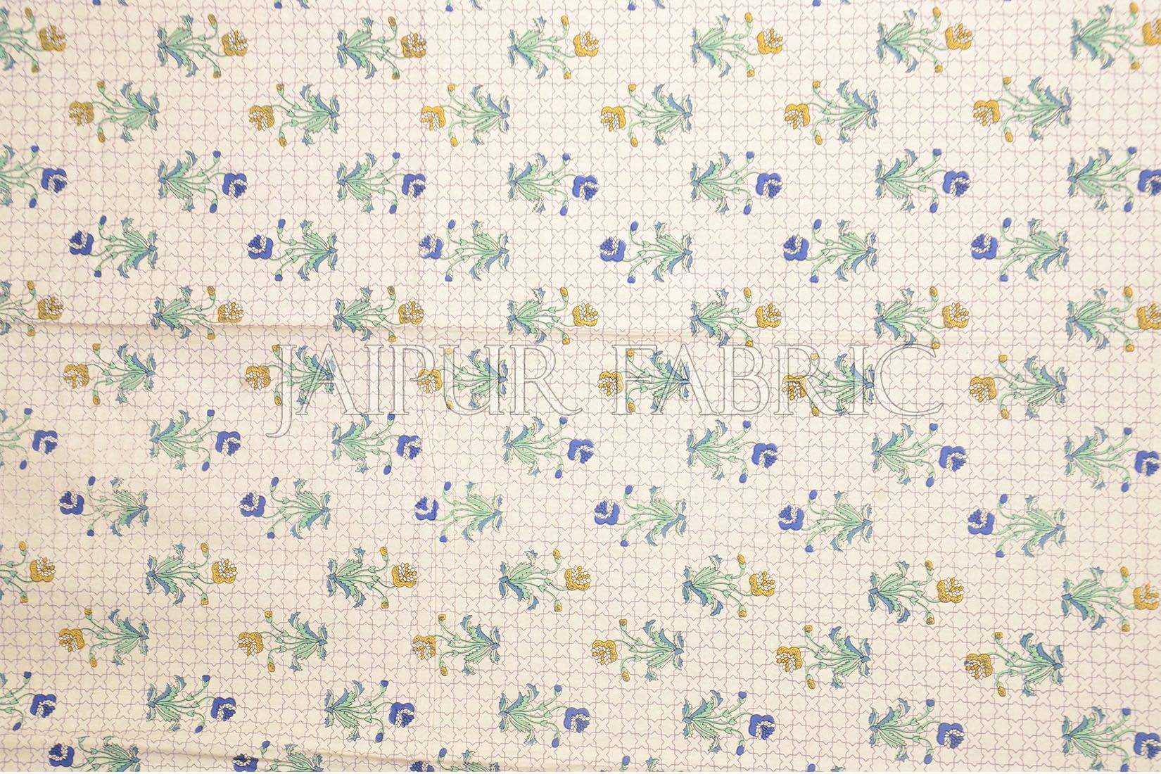 Green Border Trellis Base Floral Printed Cotton Single Bed Sheet
