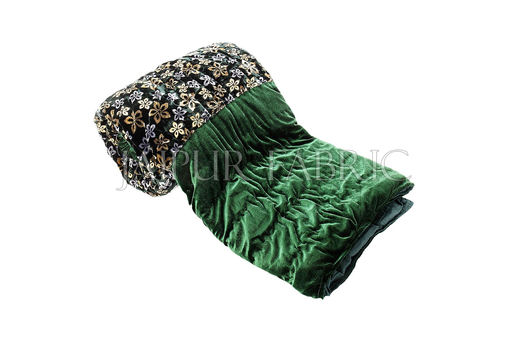 Green Velvet Double Bed Quilt