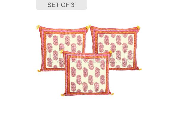 Orange Border Keri Block Print Cotton Cushion Cover
