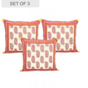 Orange Border Keri Block Print Cotton Cushion Cover