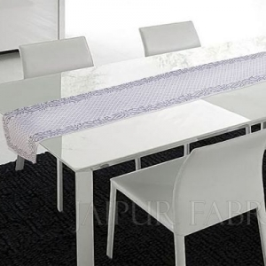 Gray Floral Printed Table Runner