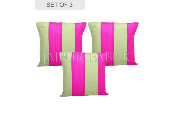 Green and Pink Thread Work Cotton Satin Silk Cushion Cover