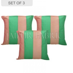 Copper and Green Thread Work Cotton Satin Silk Cushion Cover