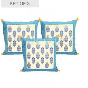 Cream Base with Cyan Border Rajasthani Kalash Design Cotton Cushion Cover