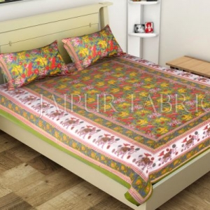 Green Elephant and Tropical Printed Rajasthani Cotton Single Bed Sheet
