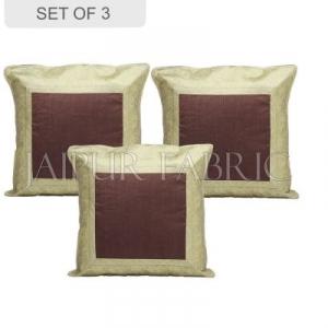 Brown Base with Golden Gota Work Border Cotton Satin Silk Cushion Cover