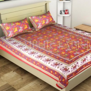 Red Elephant and Tropical Printed Rajasthani Cotton Single Bed Sheet