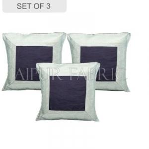 Black Base with Silver Gota Work Border Cotton Satin Silk Cushion Cover
