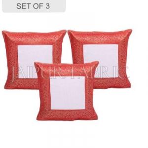 White Base with Red Gota Work Border Cotton Satin Silk Cushion Cover