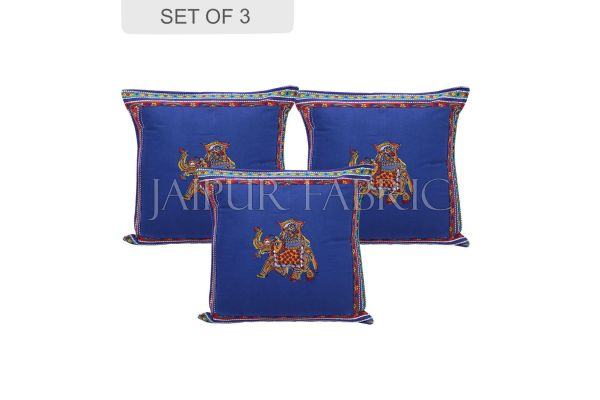 Blue Color Traditional Patch Work Cotton Cushion Cover