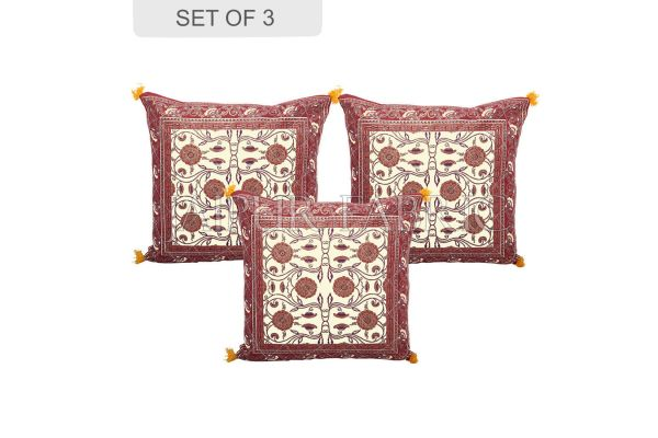 Cream Base with Brown Border Tropical Design Cotton Cushion Cover