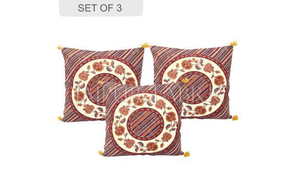 Cream Base Multi Color Jaipur Golden Print Lehriya Design Cotton Cushion Cover