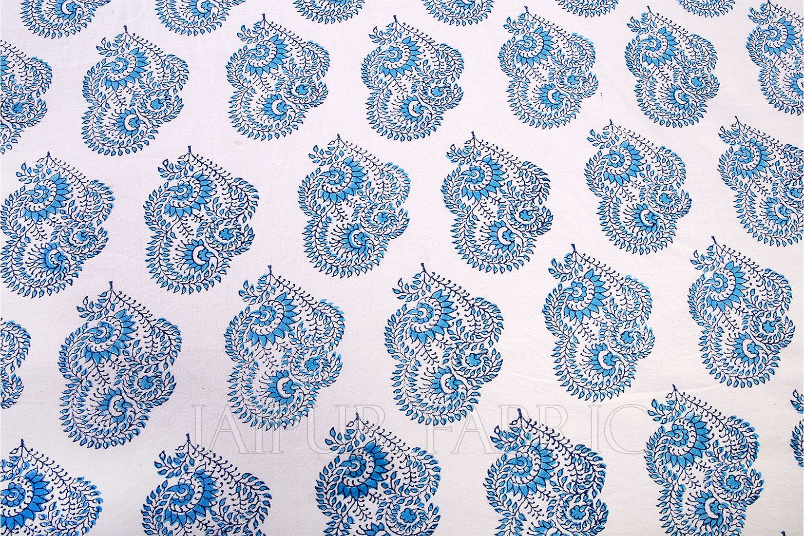 Blue Block Printed Table Cover