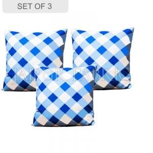 Blue checkered Plaid Pattern Cushion Cover