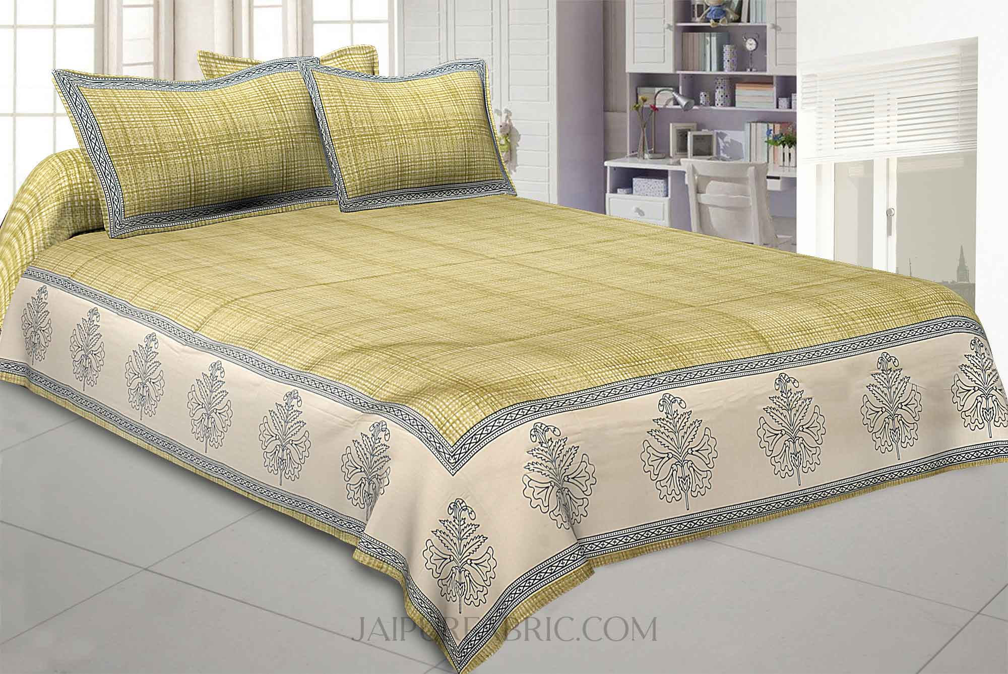 Green Lining Cotton Satin King Size Bedsheet