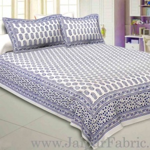 Charming Paisley Navy Blue Double Bedsheet  Soft Cotton