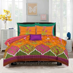 Zig-Zag Multi Color Brown Base  Floral Screen Print King Size Double Bedsheet With 2 Pillow