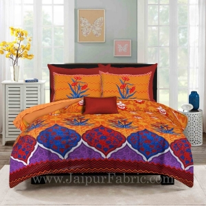 Zig-Zag Multi Color Yellow Base Floral Screen Print King Size Double Bedsheet With 2 Pillow