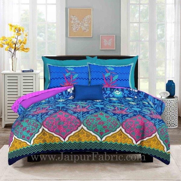 Zig-Zag Multi Color Blue Base  Floral Screen Print King Size Double Bedsheet With 2 Pillow Cover
