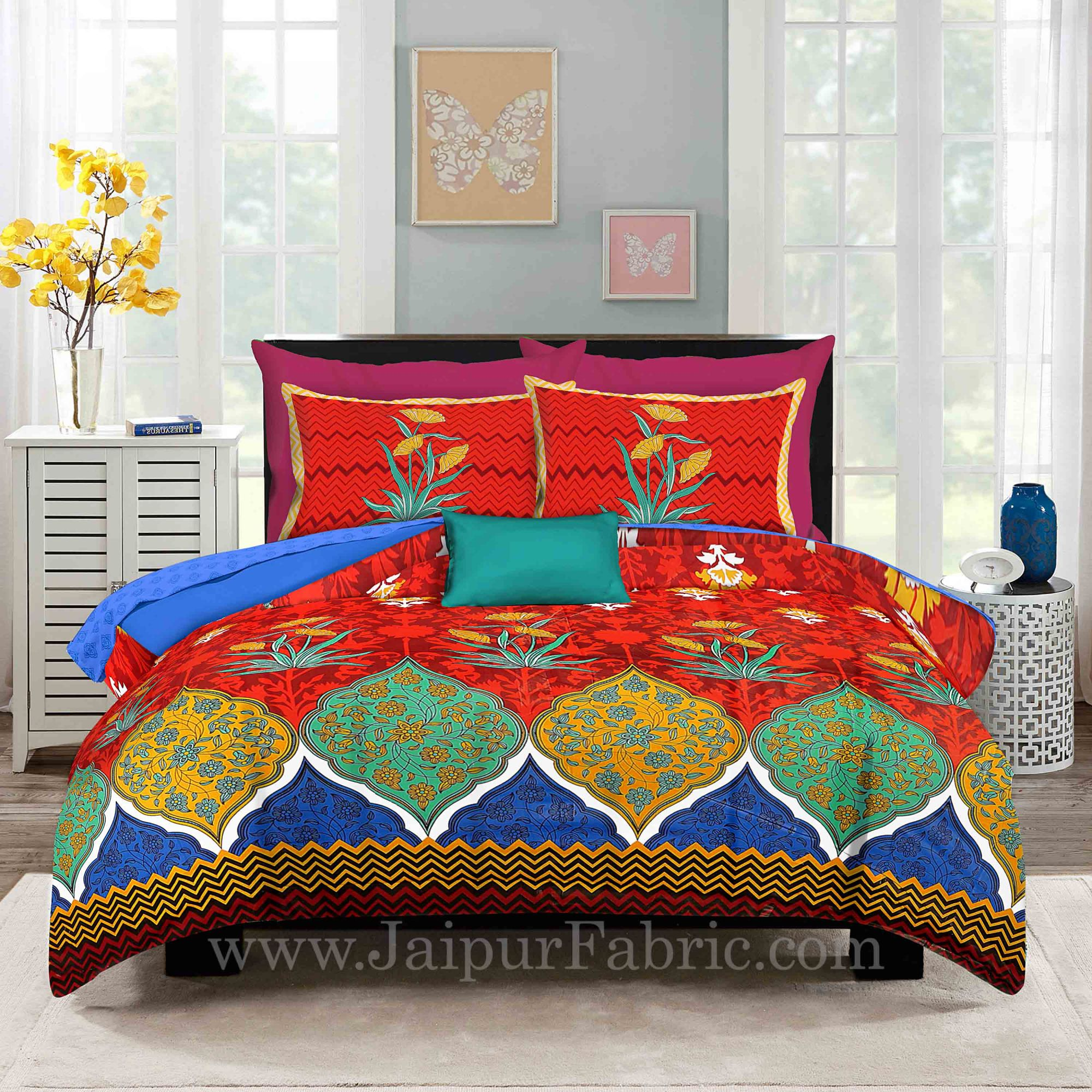 Zig-Zag Multi Color Red Base  Floral Screen Print King Size Double Bedsheet With 2 Pillow