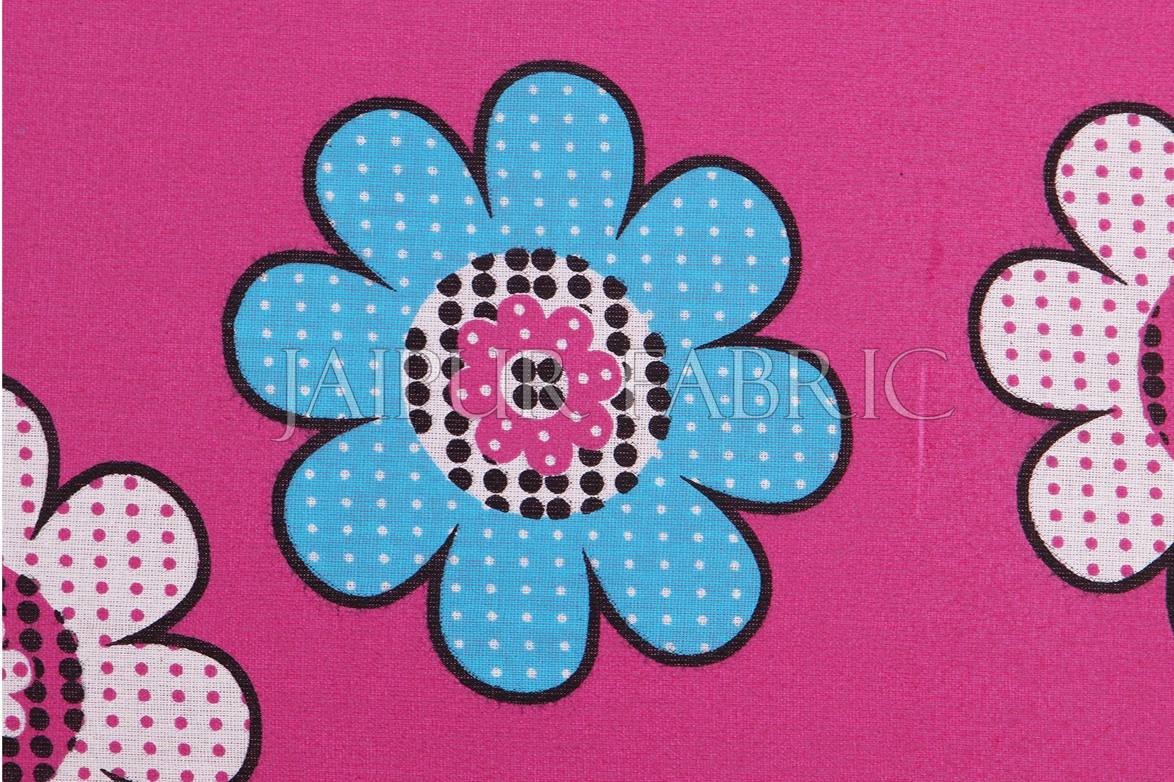 Pink Base Dotted Flower Print Double Bed Sheet