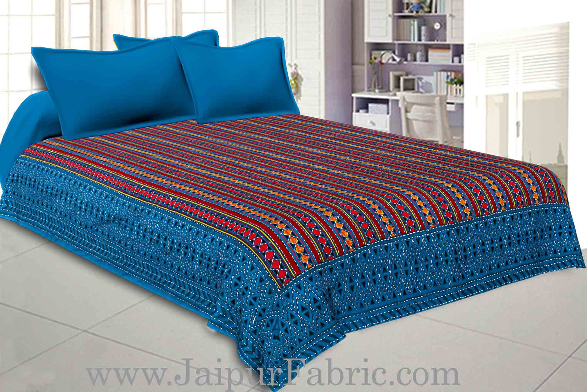 Blue  Border Maroon And blue Zig Zag Pattern With Thread Handwork(Kantha) Gudri ( Bed Cover)