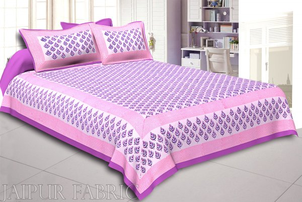 Purple Color Handmade Block Print on white base Double Bed Sheet with Two Pillow Covers