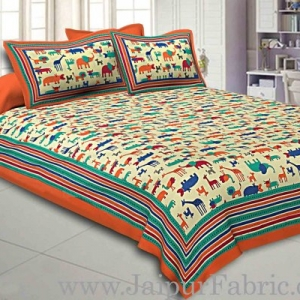Double bedsheet Orange Color  Animal Pattern Smooth Touch With 2 Pillow Cover