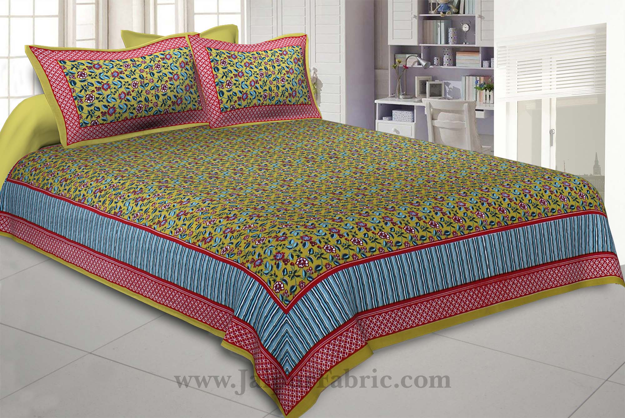 Mehandi Green Floral Covet Double Bedsheet