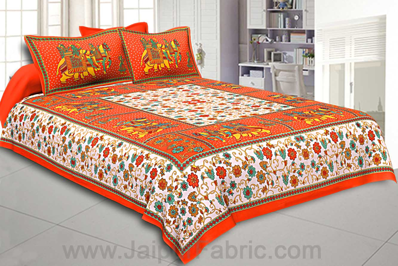 Orange Big Elephant Printed Cotton Double Bed Sheet