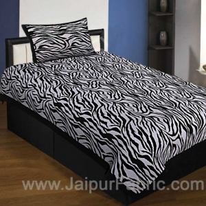 Black Border White Base Zebra Print Fine Cotton Single Bedsheet With One Pillow Cover