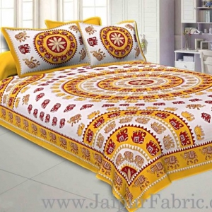 Double bedsheet Yellow Border With Elephant Print Fine Cotton With Two Pillow Cover