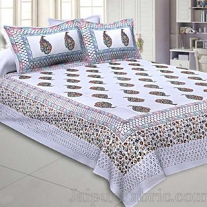 King Size Double Bedsheet White Colorful Paisley Satrangi