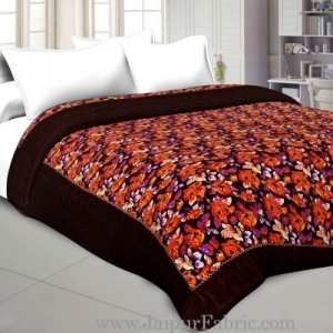 Dark Brown Floral Print Single Bed Quilt