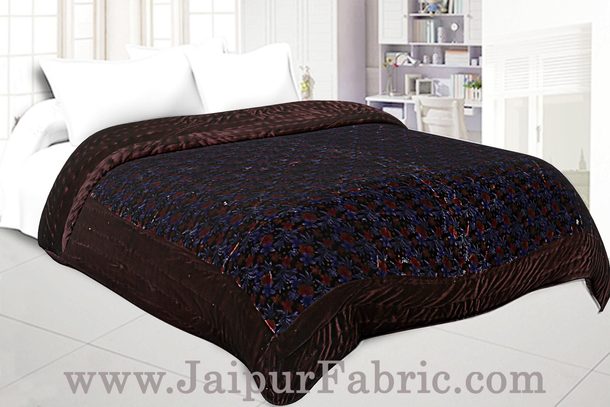 Jaipuri Hand Crafted Brown Smooth Touch  Floral Print Velvet Double Quilt