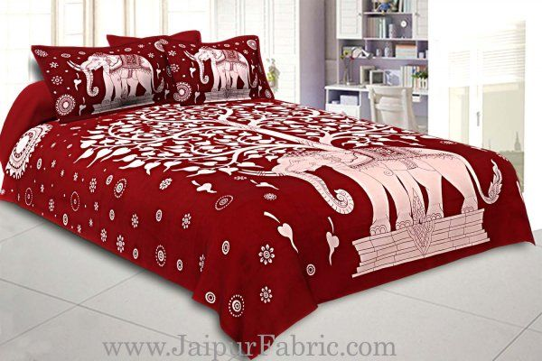 Wholesale Double Bedsheet With Big Elephant And Tree Pattern With Two Pillow Cover
