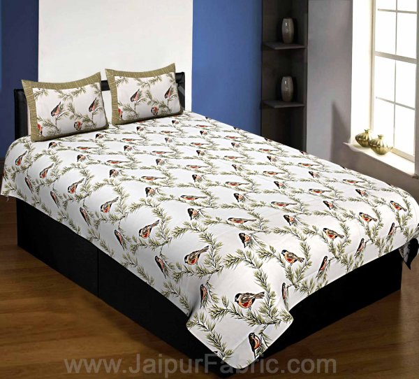 Pure Cotton 240 TC Single Bedsheet indian bird print green taxable