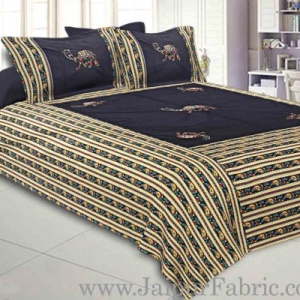 Double Bedsheet Patchwork  Camel  Design With Two Pillow Cover