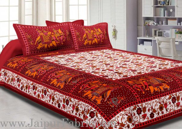 Dark Brown Gangaur Pattern cotton Double Bed sheet