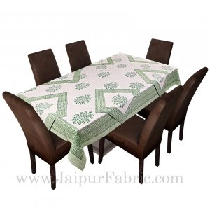 Greenish Border White Base With Hand  Block Print Super Fine Cotton Table Cover
