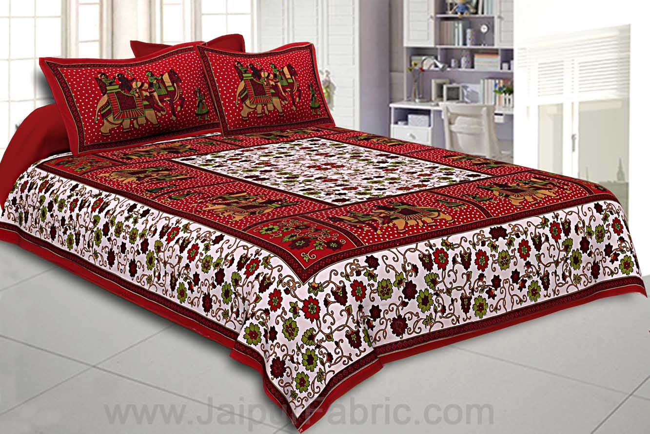 Maroon Border White Base Barat Pattern Screen Print Cotton Double Bed Sheet
