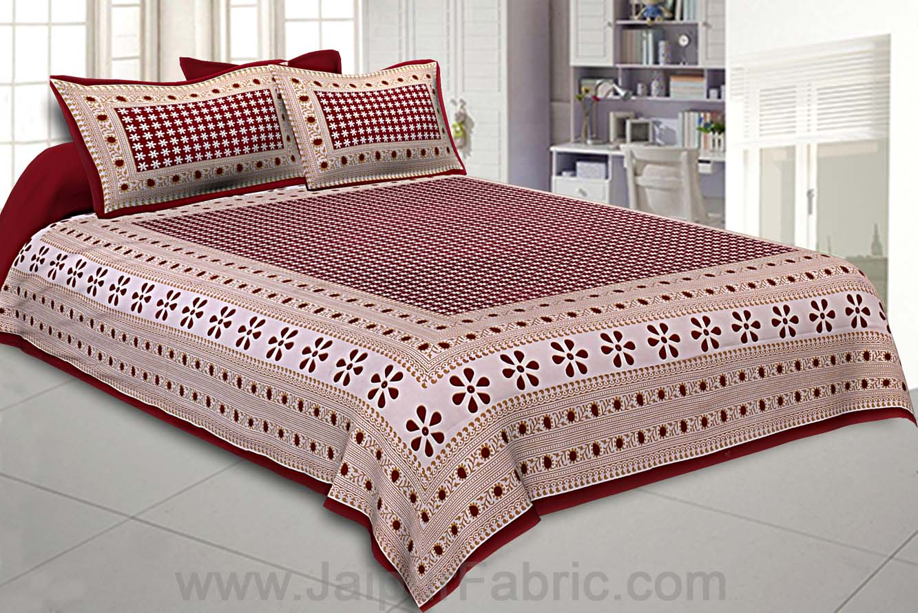 Double Bedsheet Blood Red Color Rangoli Print